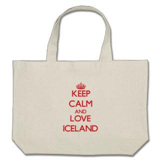 Guarde la calma y ame Islandia Bolsas Lienzo