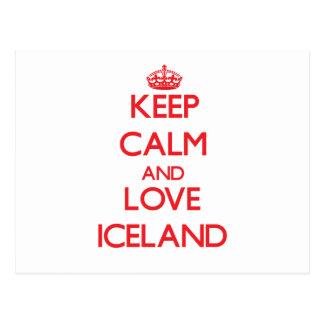 Guarde la calma y ame Islandia Tarjetas Postales