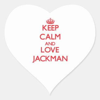 Guarde la calma y ame Jackman Pegatina En Forma De Corazón