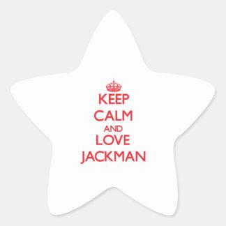 Guarde la calma y ame Jackman Pegatina En Forma De Estrella