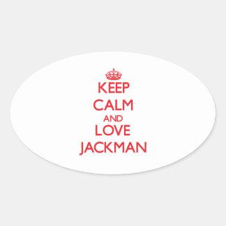 Guarde la calma y ame Jackman Pegatina Ovalada