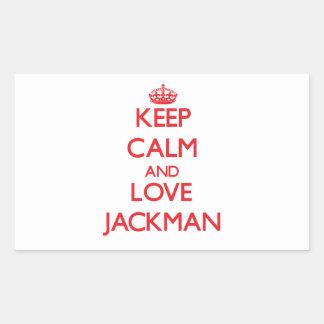 Guarde la calma y ame Jackman Pegatina Rectangular