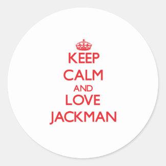 Guarde la calma y ame Jackman Pegatina Redonda