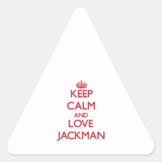 Guarde la calma y ame Jackman Pegatina Triangular
