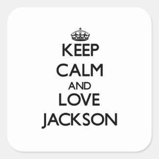 Guarde la calma y ame Jackson Pegatina Cuadrada
