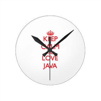 Guarde la calma y ame Java Relojes De Pared