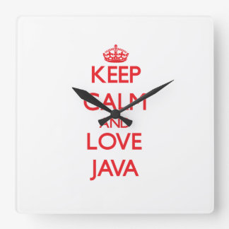 Guarde la calma y ame Java Reloj De Pared