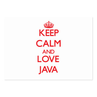 Guarde la calma y ame Java Tarjetas De Visita