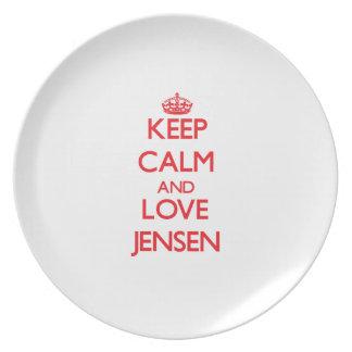 Guarde la calma y ame Jensen Platos