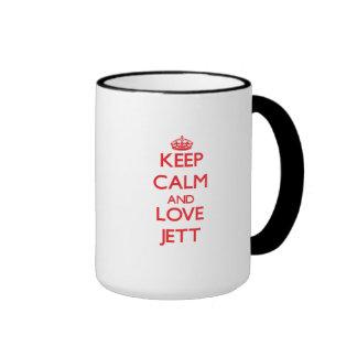 Guarde la calma y ame Jett Taza De Café