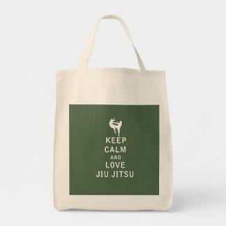 Guarde la calma y ame Jiu Jitsu Bolsa Lienzo