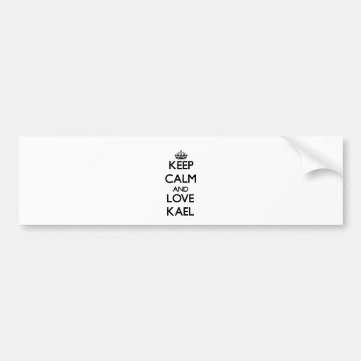 Guarde la calma y ame Kael Etiqueta De Parachoque