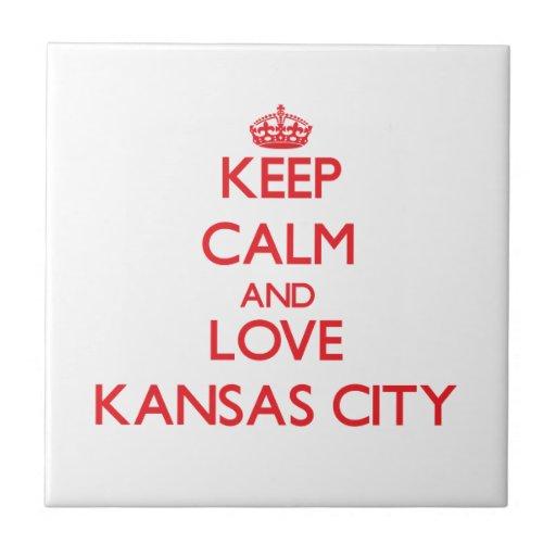 Guarde la calma y ame Kansas City Teja Ceramica