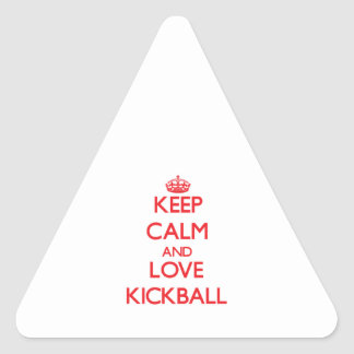 Guarde la calma y ame Kickball Colcomanias De Trianguladas