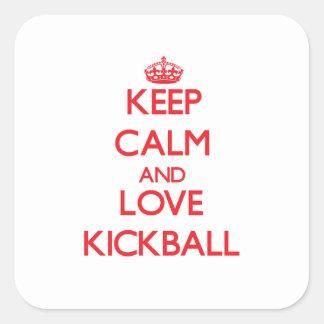 Guarde la calma y ame Kickball Pegatina Cuadradas Personalizadas