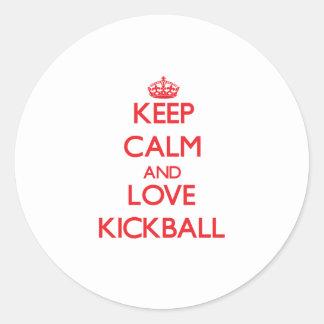 Guarde la calma y ame Kickball Pegatinas