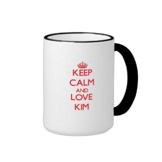 Guarde la calma y ame Kim Tazas De Café