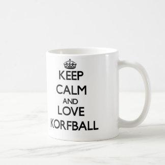 Guarde la calma y ame Korfball Tazas De Café