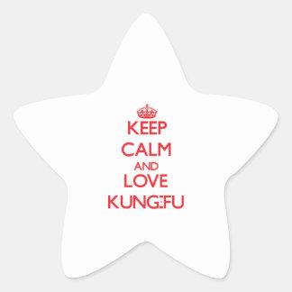Guarde la calma y ame Kung-Fu Pegatinas Forma De Estrella