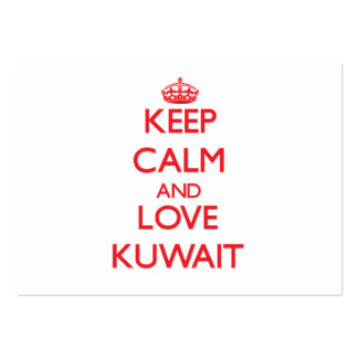 Guarde la calma y ame Kuwait Tarjetas De Visita Grandes