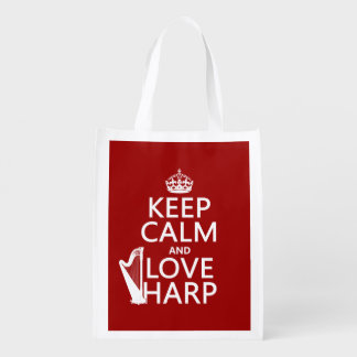 Guarde la calma y ame la arpa (cualquier color de bolsas de la compra