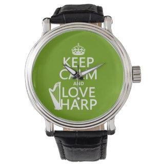 Guarde la calma y ame la arpa (cualquier color de reloj