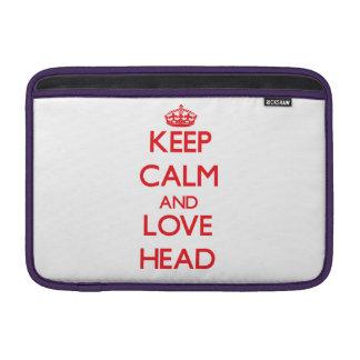 Guarde la calma y ame la cabeza fundas MacBook