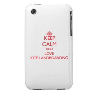 Guarde la calma y ame la cometa Landboarding Case-Mate iPhone 3 Carcasa