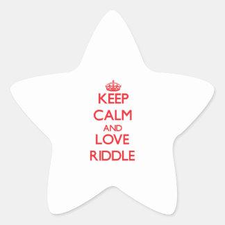 Guarde la calma y ame la criba calcomanías forma de estrella