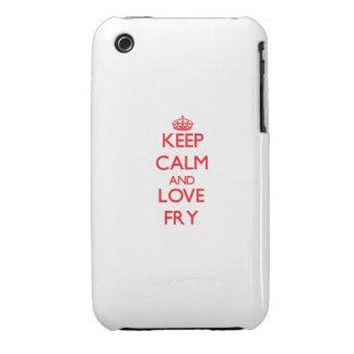 Guarde la calma y ame la fritada iPhone 3 Case-Mate protectores