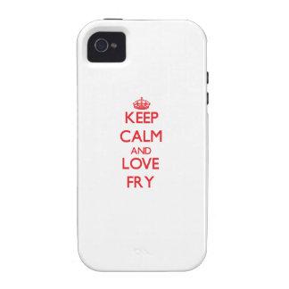 Guarde la calma y ame la fritada iPhone 4 fundas