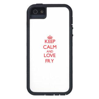 Guarde la calma y ame la fritada iPhone 5 carcasas