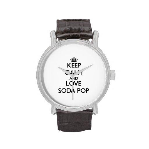 Guarde la calma y ame la gaseosa relojes de mano