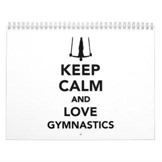 Guarde la calma y ame la gimnasia calendarios de pared