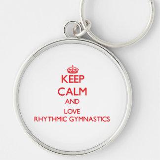 Guarde la calma y ame la gimnasia rítmica llaveros personalizados