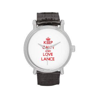 Guarde la calma y ame la lanza relojes
