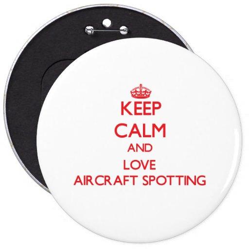 Guarde la calma y ame la localización de los avion pin