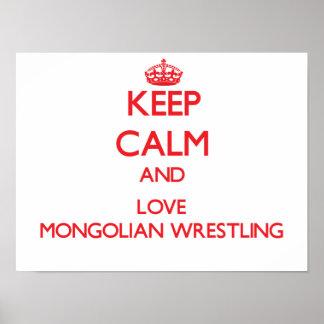 Guarde la calma y ame la lucha mongol poster