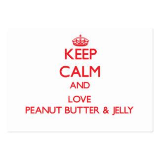 Guarde la calma y ame la mantequilla y la jalea de tarjeta personal
