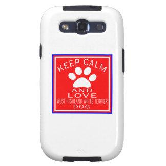 Guarde la calma y ame la montaña Terrier blanco Galaxy S3 Funda