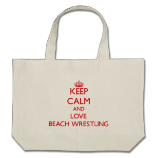 Guarde la calma y ame la playa que lucha bolsa