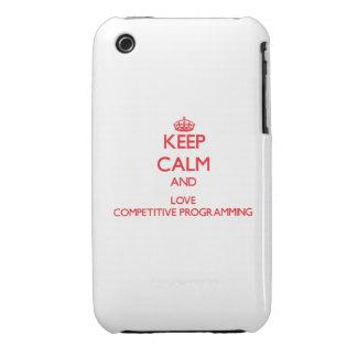 Guarde la calma y ame la programación competitiva iPhone 3 protectores