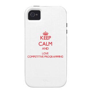 Guarde la calma y ame la programación competitiva Case-Mate iPhone 4 carcasa