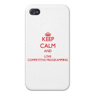 Guarde la calma y ame la programación competitiva iPhone 4 carcasa