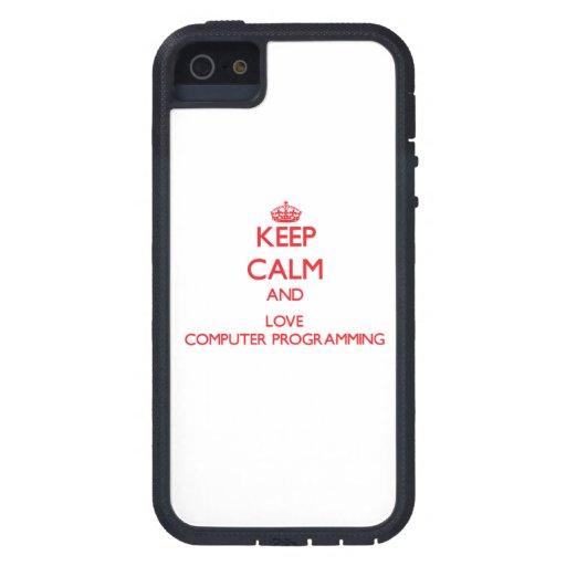 Guarde la calma y ame la programación informática iPhone 5 Case-Mate coberturas