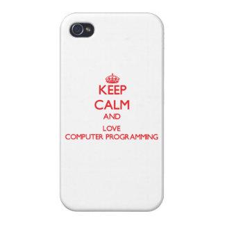 Guarde la calma y ame la programación informática iPhone 4 cárcasas