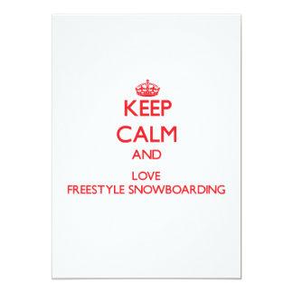Guarde la calma y ame la snowboard del estilo comunicados