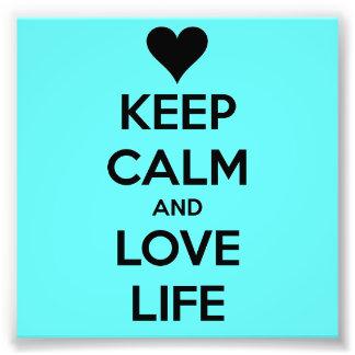 Guarde la calma y ame la vida - poster verde de Se Cojinete