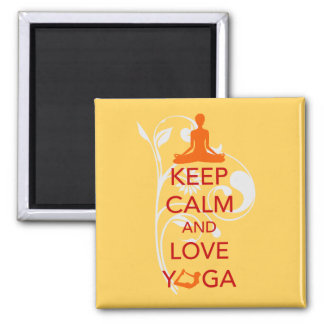 Guarde la calma y ame la yoga - diseño único de la imán cuadrado
