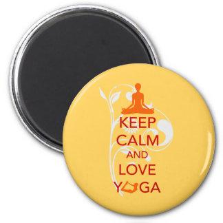 Guarde la calma y ame la yoga - diseño único de la imán redondo 5 cm